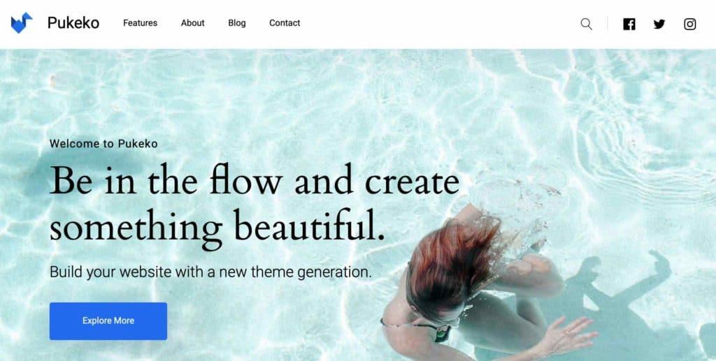 Pukeko. ein wunderschönes Blog Theme und vielen weiteren Möglichkeiten.