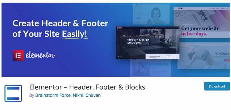 Header und Footer Blocks for Elementor