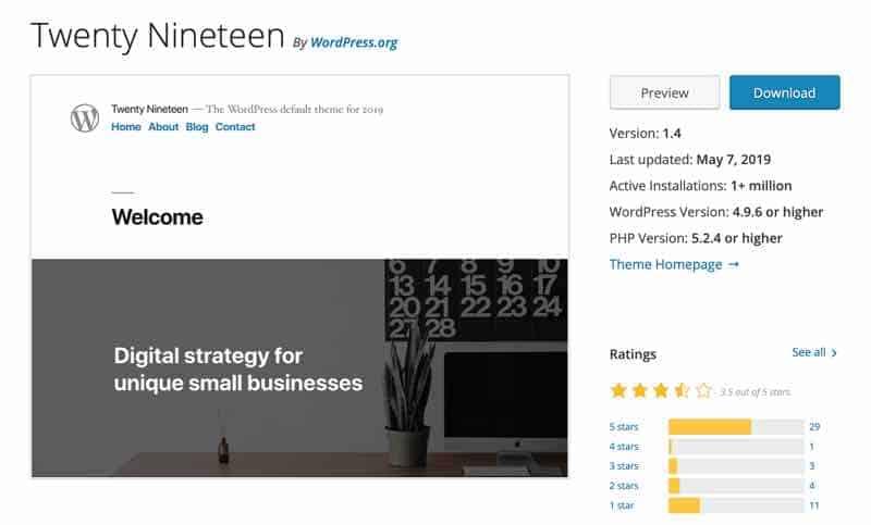 Twenty Nineteen, Das WordPress Standard Theme